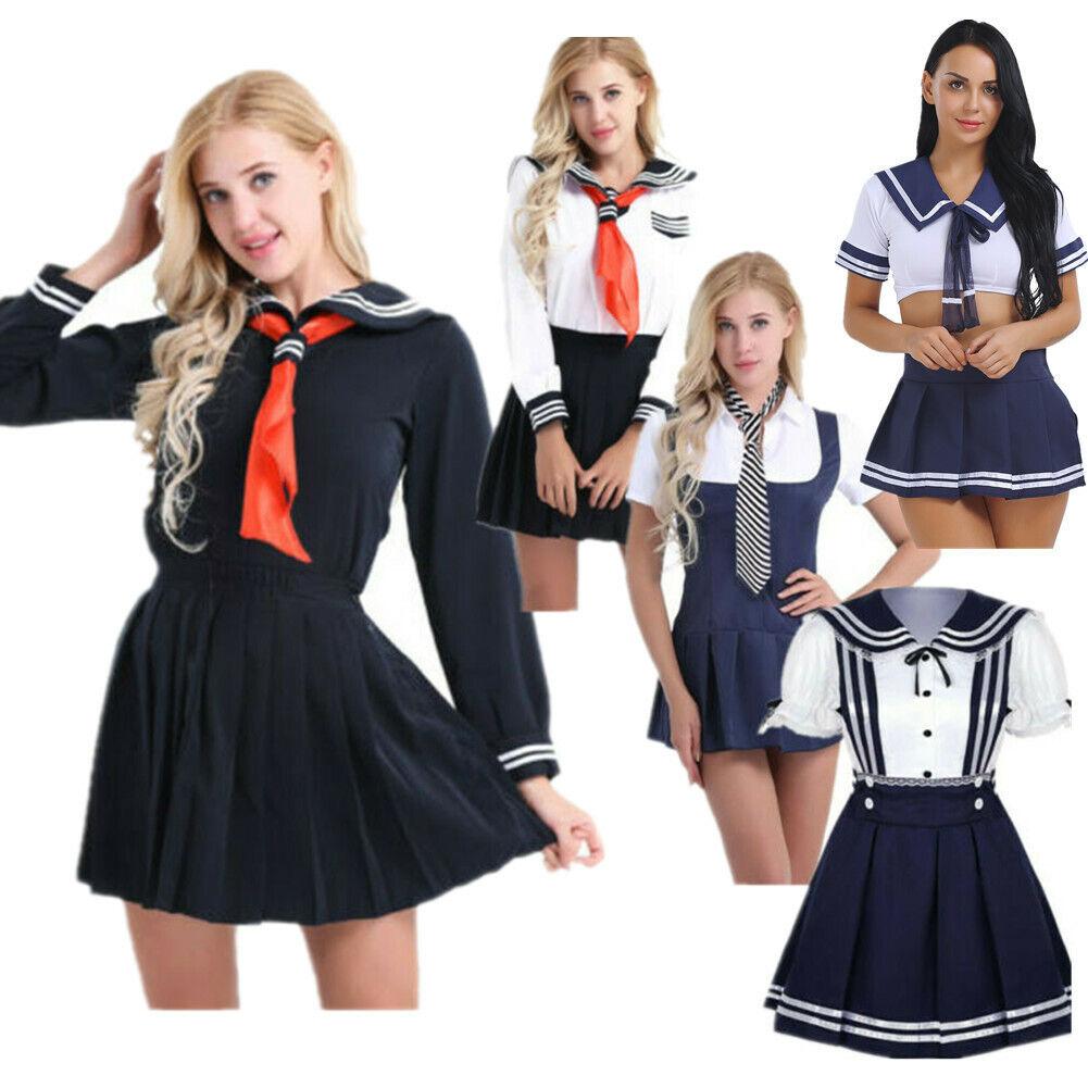 Japanese JK School Uniform Navy Blue Long Sailor Costume Dress Cosplay Costume