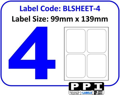 blsheet-4 jusqu/' 4 par Page Plain white blanc étiquettes d/'adresse feuille A4 4 4TV