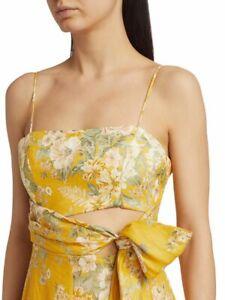 Zimmermann NEW AUTH Amelie Floral Tie Cutout Linen Dress 0 US 4 Midi 8024DAME