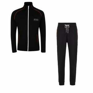 Hugo-Boss-Cotton-Slim-Fit-Funnel-Zip-Black-Tracksuit