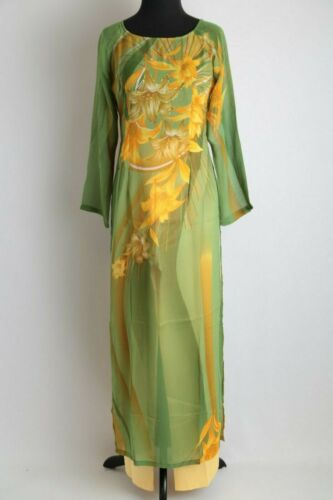 Ao Dai Vietnam Sizes Available Neon Green w// Glitter Floral Ao Dai w// Pants