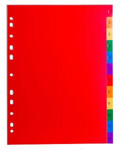 HEWADI® PP-Register für DIN A4 297x210/225mm / 12-teilig /vollfarbig (2 x 6)