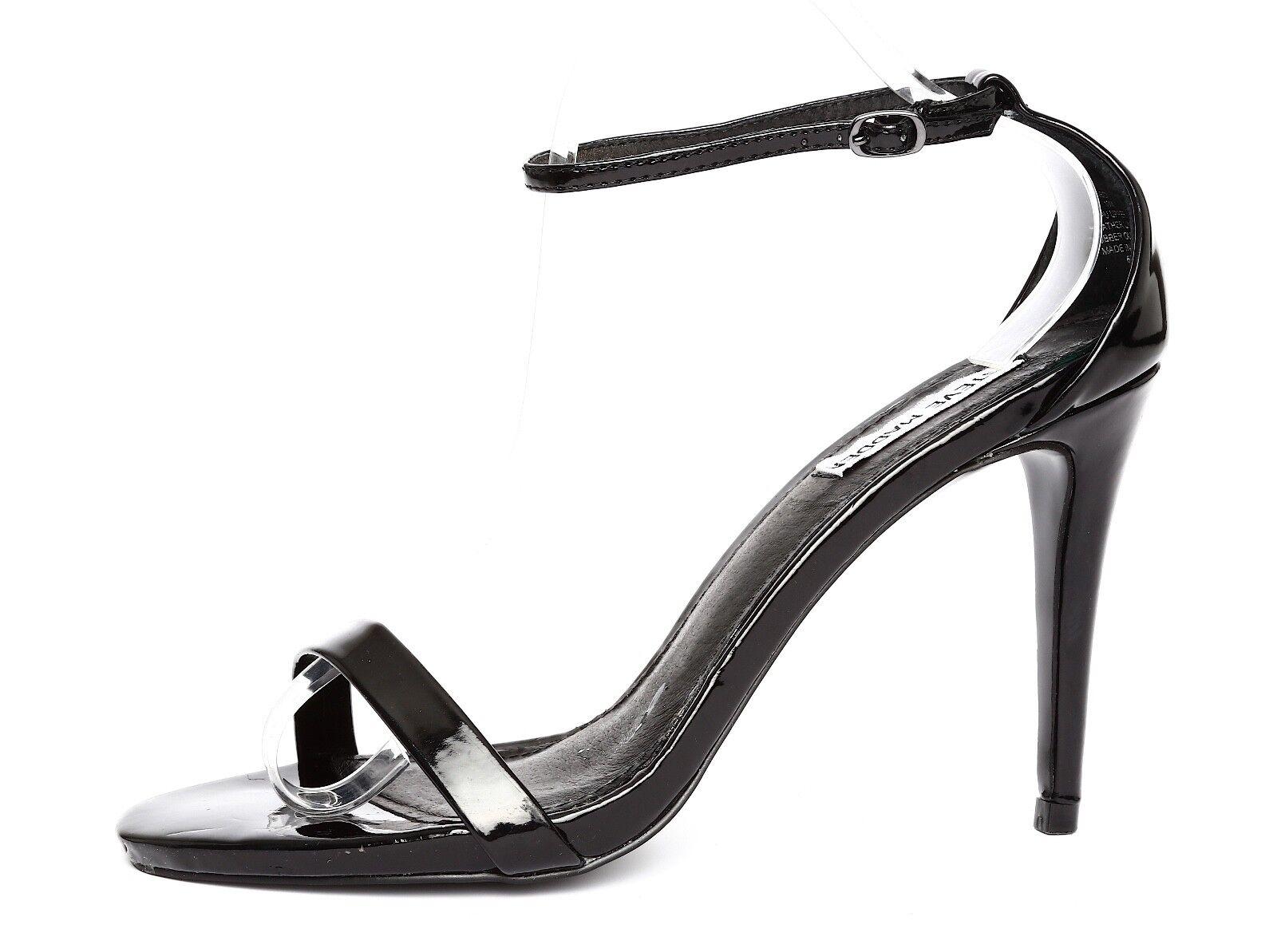 Steve Madden Stecy Patent Leather Black Ankle Strap Sandal Heels Sz 10M 2850