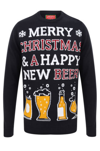 Mens Christmas Happy New Beer Knitted Jumpers Sweatshirt Funny Winter Xmas Top
