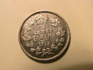 1912-Canada-5-Cent-Silver-Fine-George-V-British-King-Canadian-Five-Cents-Coin