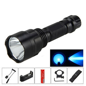 5000lm Blau Led Licht Flashlight Taschenlampe Montieren Jagd Berg