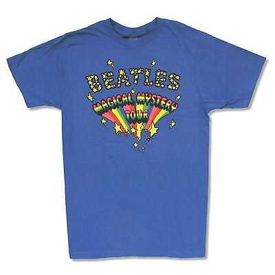 """THE BEATLES """"MAGICAL MYSTERY"""" BLUE T-SHIRT NEW OFFICIAL ADULT"""
