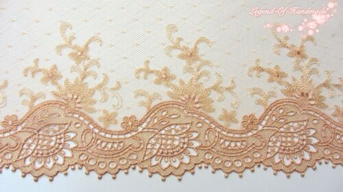 "9/""*1Y Embroidered Tulle Lace Trim~Cream Peach~Unforgetable Grace~Costume//Sewing~"