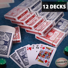12x Playing Cards Standard Index Poker Size 6 Red & 6 Blue for Blackjack Euchre