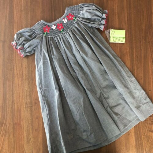 NWT Zuccini Black /& White Gingham Short Sleeve Dress w// Red Embroidered Flowers