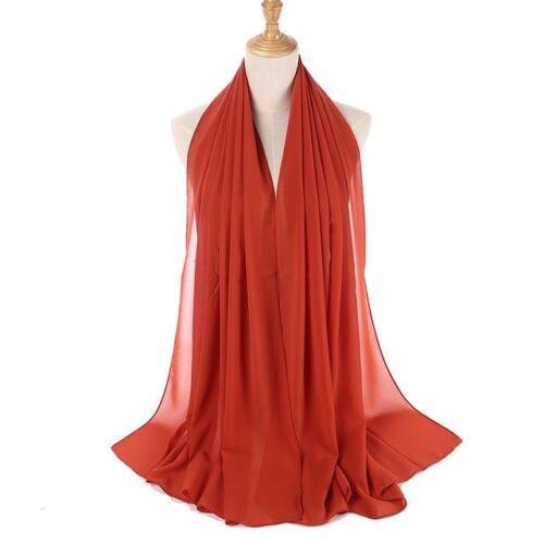 NUOVA Sciarpa Tinta Unita Chiffon Hijab Sarong Qualità Morbido Elegante Chiffon Sciarpe Scialle