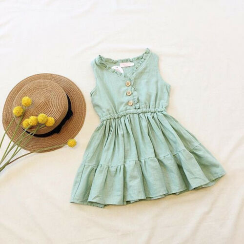 Kids Girls Baby Summer Casual Floral Dress beach  party wedding Sundress 1-6Y