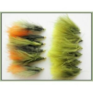 Dawsons-Olive-Trout-flies-12-Pack-Gold-Bead-Orange-and-Yellow-Size-10-hook