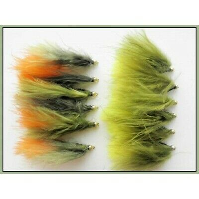 10//12//14 Trout Fly 12 pack Olive /& Orange Sight Bob Killers Gold Bead Buzzers