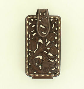 LARGE-Leather-PHONE-HOLSTER-Rotating-Clip-Western-Brown-Leather-06894