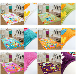 Kinder Teppich Kinderzimmer Moda Eule Blumen Sonne Regenbogen ...