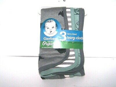 Gerber Baby Boy 3-Pack Black Dinosaurs Burp Cloths