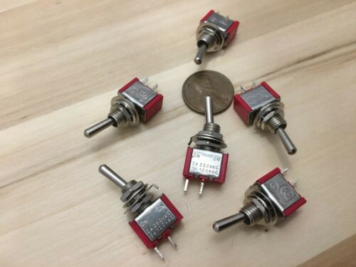 6 Pieces RED 5A ONOFF Toggle Switch SPST 6mm 14 125v miniature 12v on off C17
