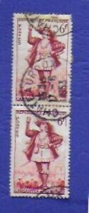 TIMBRES-FRANCE-1953-GARGANTUA-LOT-2-TIMBRES-ATTACHES-OBLITERES