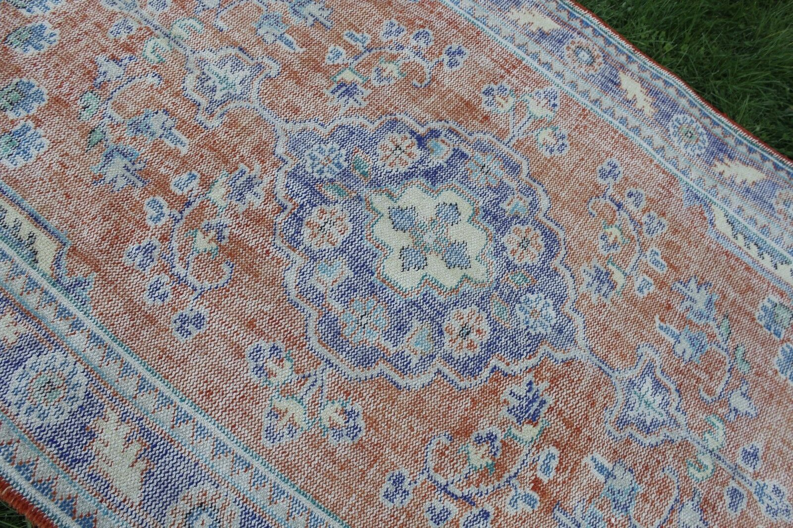 Vintage Handmade Turkish Anatolian Wool rot rot rot Blau Office Oushak Rug 118 x68  96aed6