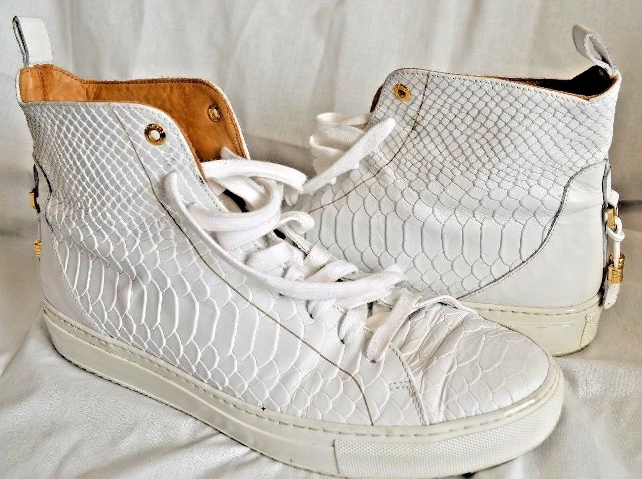 ANDROID ANDROID ANDROID HOMME Designer Handmade Weiß Reptile Print Leather Trainers UK 9 EU 43 a91edd