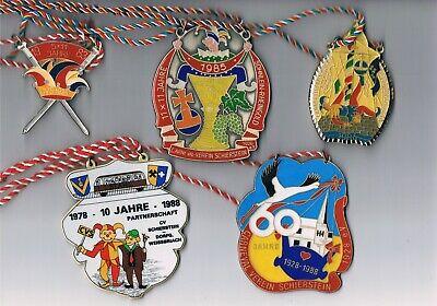 5 Karnevalsorden, Faschingsorden Cv Schierstein, 1983, 1985, 1986, 2x 1988 Um 50 Prozent Reduziert