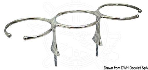 Osculati Glas-Halter dreifach AISI 316 m. Stiftschrauben