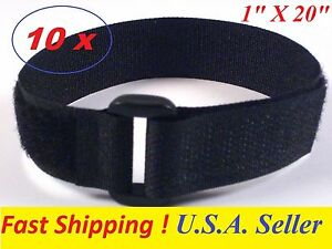 """Lot of 10 Cable Tie Down Strap Hook and Loop Strap Reusable 1/"""" x20/"""" USA SELLER"""