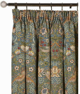 William Morris Strawberry Thief Slate Ready Made Curtains