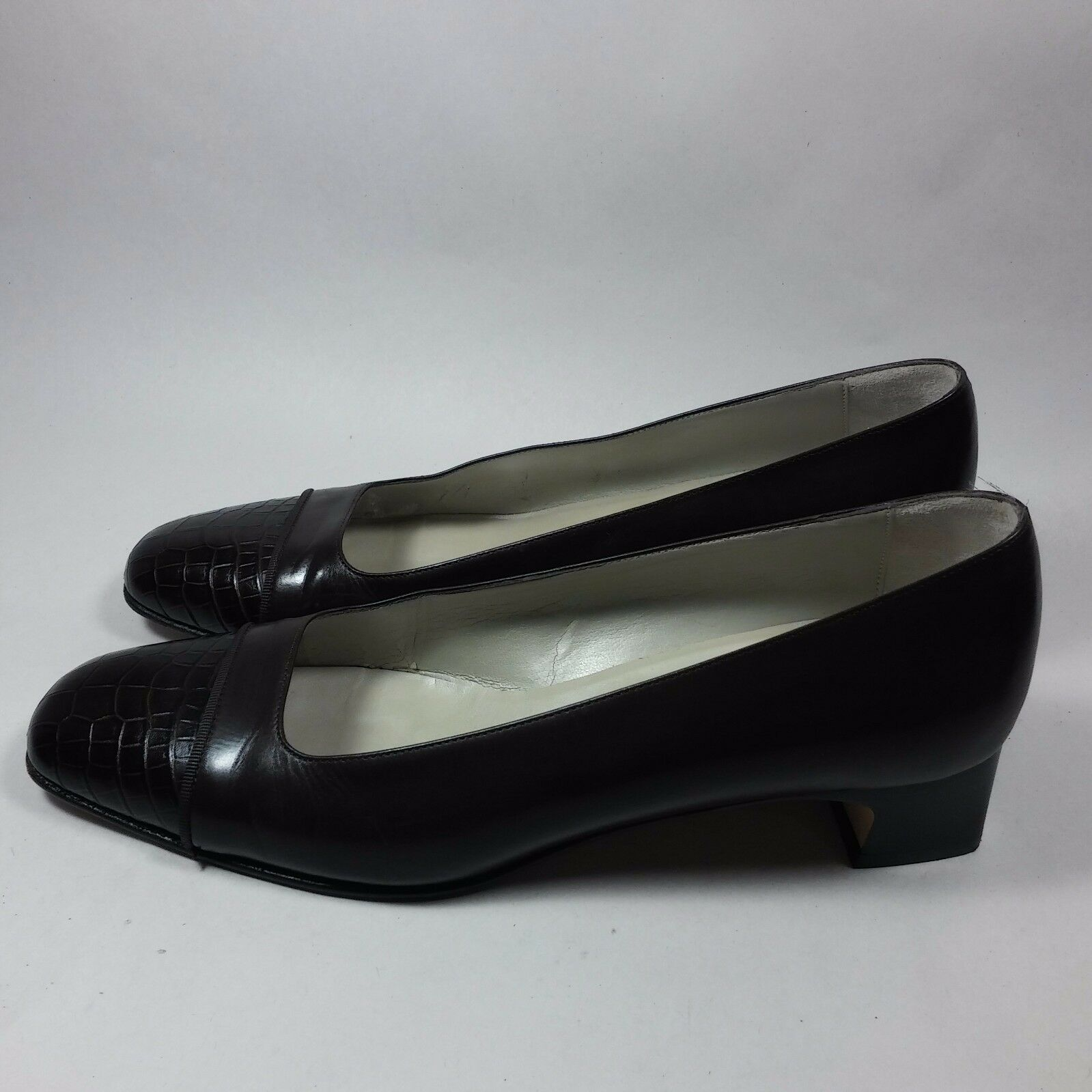 NICE Women's Talbots shoes Slip-On Heels Walking Comfort Brown Leather-7.5 N