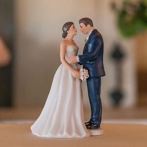 Contemporary Vintage Romantic Couple Wedding Cake Topper Custom Hair Modern Gift