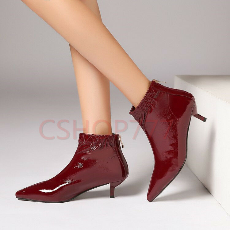 Womens pointy Toe ankle short Boots slim low heel patent leather Lady  shoes SZ