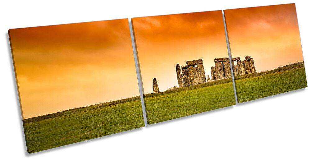 Stonehenge Orange Sunset Framed Framed Framed CANVAS PRINT Triple Wall Art b44bbc