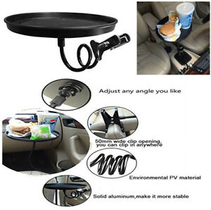 Round Travel Foot Drink Cup Coffee Table Stand Car Food Tray Mount