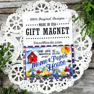 DecoWords-Gift-Fridge-Magnet-2-034-x3-034-Sky-Blue-over-MEME-PEPE-039-s-House-USA-NEW