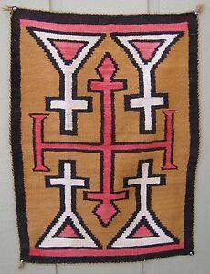 Vintage Navajo Rug W Crosses 1920 1930 586 Ebay
