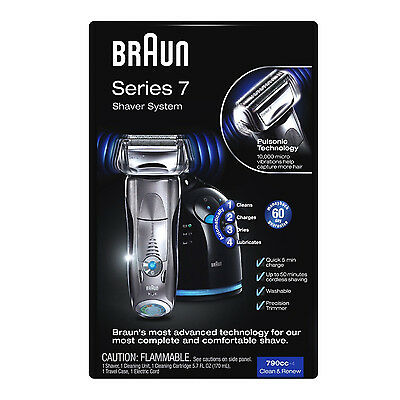 NEW Braun 790cc Cordless Pulsonic Rechargeable Shaver System 790 Series 7 Men's