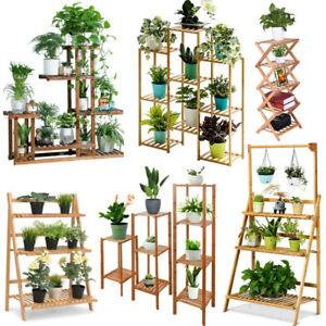 Wood-Bamboo-Metal-Shelf-Flower-Pot-Plant-Stand-Rack-Garden-Indoor-Outdoor-Home