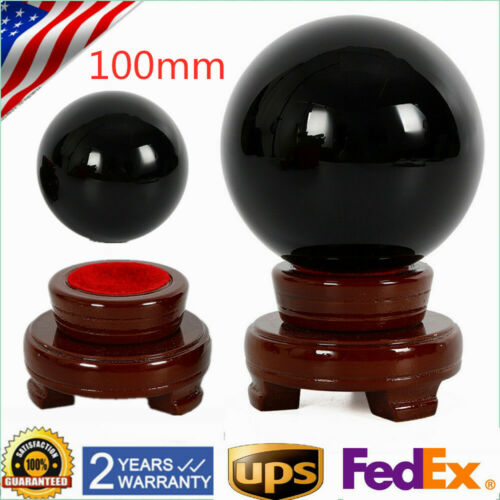 100mm stand Natural Black Obsidian Sphere Large Crystal Ball Healing Stone