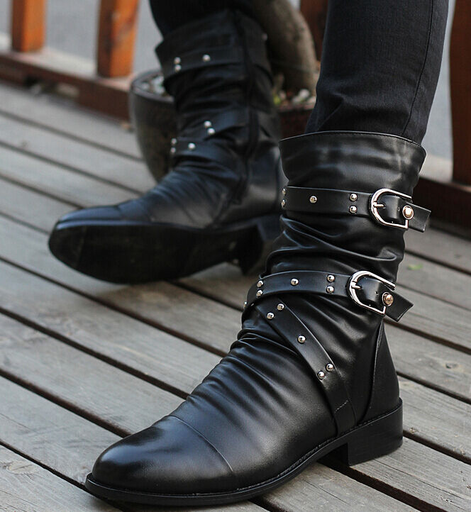 Stylish Mens ankle boots cowboy faux leather rivet pointed toe casual shoes