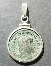 Genuine Ancient Constantine the Great Roman Empire Coin 925 Silver Pendant Charm