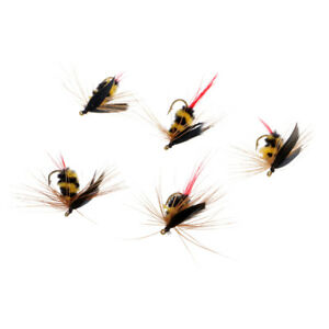 5Pcs-Yellow-and-Black-Bumble-Bee-Fly-Insect-Flies-Dry-Fly-for-Trout-Fishing