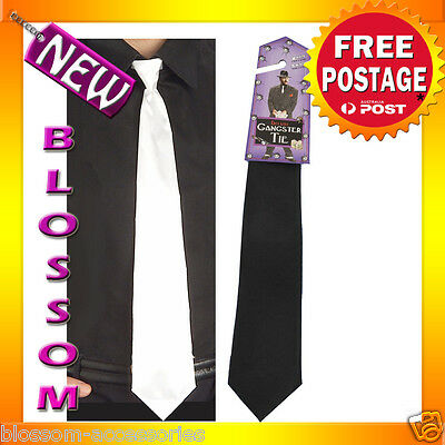 A241 White or Black Long Gangster Tie