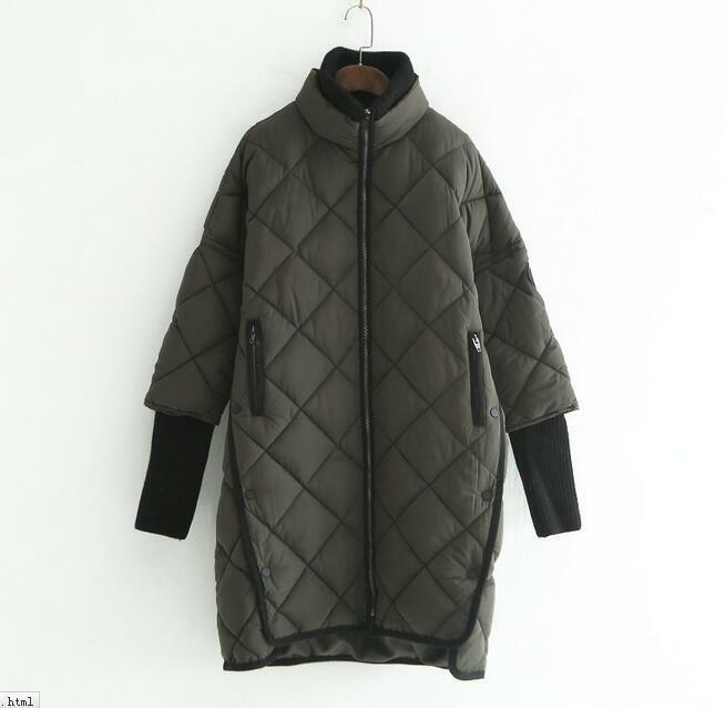 Women Winter Loose Casual Knitted Sleeve Cotton Stand Collar Warm Outwear Coat