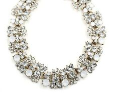 BEAUTIFUL ZARA OPAL WHITE CLEAR FACETED CLUSTER STONES NECKLACE - NEW