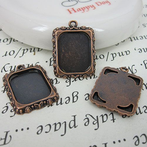 10pcs antiqued copper-tone picture frame pendant G471