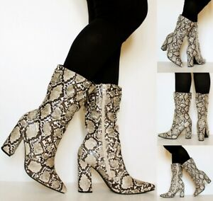 Ladies-Womens-Party-Animal-Snake-Print-4-Inch-Mid-High-Heel-Mid-Calf-Boots-1165