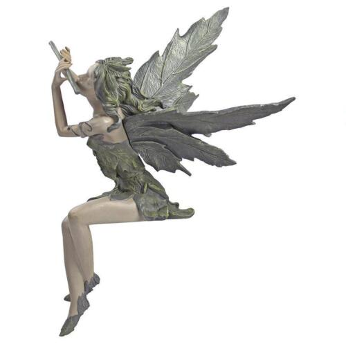 Joyful Flute Playing Fairy Sitting Statue Garden Pixie Sculpture