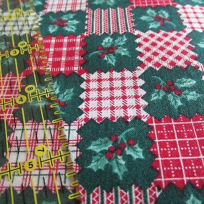 Vtg Cranston Christmas cotton fabric tree rocking horse cat gifts BTHY half yard