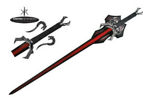 44-034-LARGE-Display-Stainless-Dragon-Fire-Medieval-Red-Collectible-Sword-Xmas-Gift